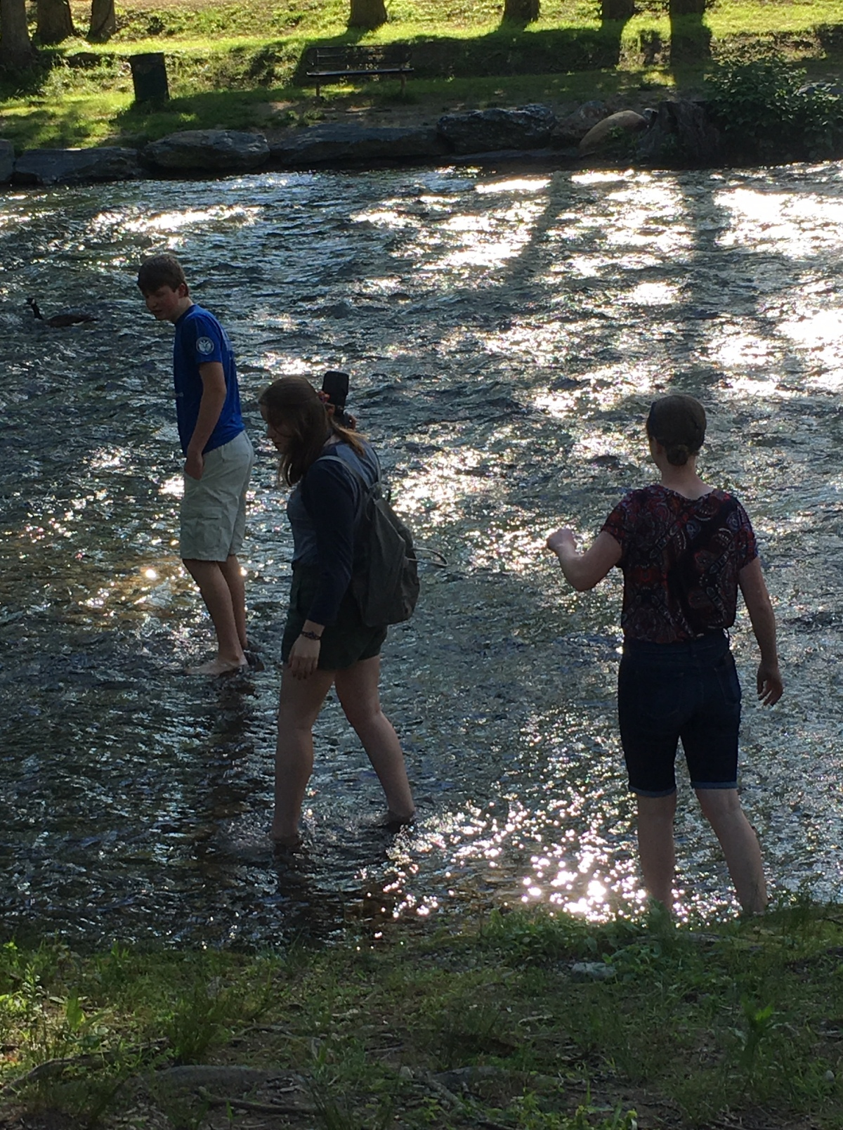 Three kids in wading in the river