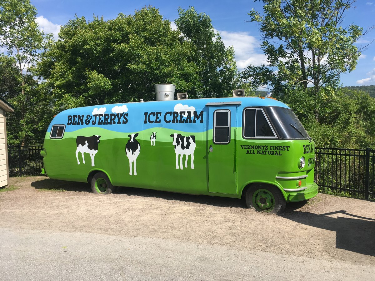 Ben&Jerry's bus with cows on it