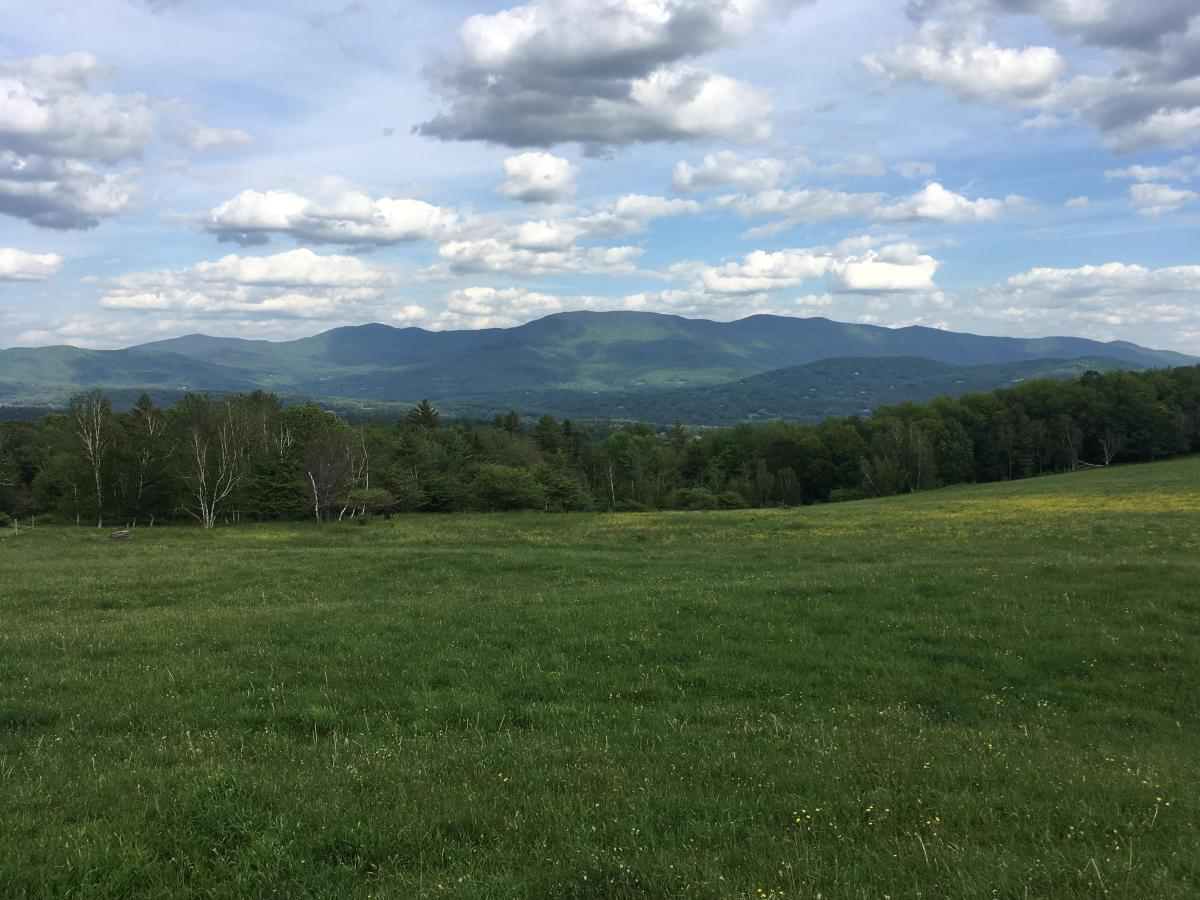 View of the mountains outside of the Trapp Family Lodge